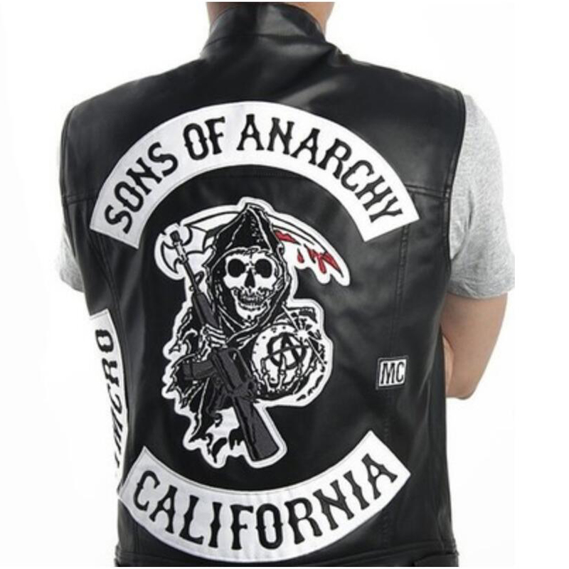 Anarchy Embroidery Leather Vest Harley Motorcycle Black Vest Jacket Punk Roleplay Costume Vest