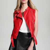 New fashion red jacket new 2018 bomber motorcycle Leather jackets women brand jacket jaqueta couro vest Waistcoat gilet Leather