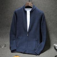 Мужской свитер кардиган на молнии 2019 осень и зима хлопок мужской тонкий плюс размер свитер подростковый мальчик вязаная верхняя одежда