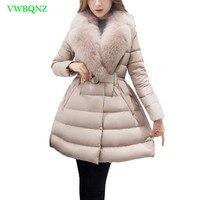 Для женщин лисий мех воротник вниз куртка хлопка модные зимние High end Утепленные длинные пальто хлопка Для женщин Таро муки теплая верхняя од