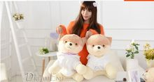 middle new plush lovely plush Pomeranian toy Pomeranian dog doll in white clothes gift about 35cm