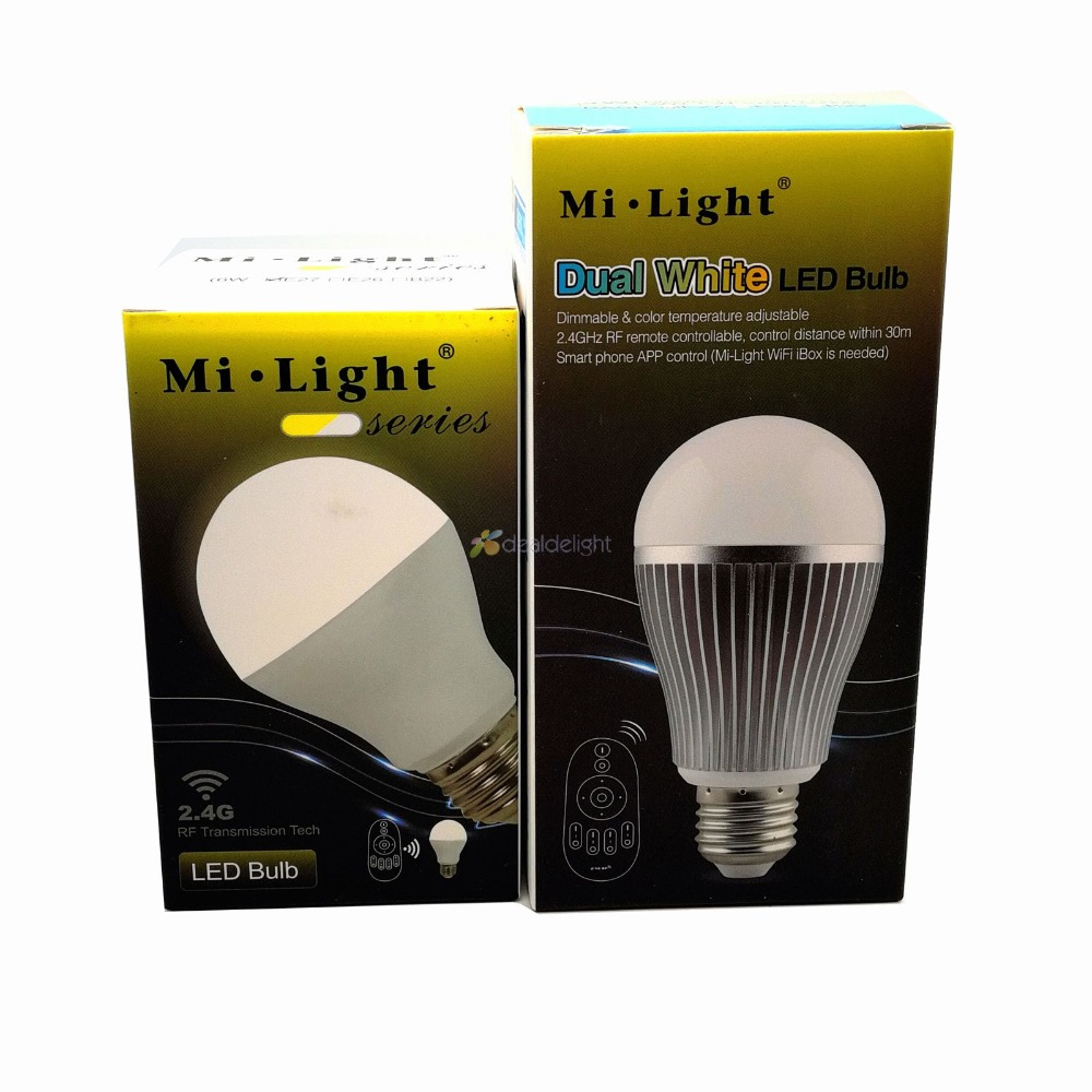 Mi.Light 2.4G 6W FUT017 9W FUT019 CCT LED Bulb Color Temperature Adjustable Dual White CW/WW AC110V 220V