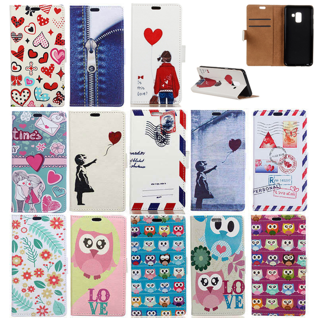cheap for discount 7ecca 156b2 US $5.02 20% OFF Owl Bird Flower PU Leather Flip Cover Case for Samsung  Galaxy A6 2018 Magnetic Snap Stand Card Slots Shell for Samsung A6+ 2018-in  ...