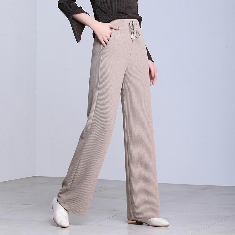 2019 Korean Women Trousers Spring Summer knitted   Wide     Leg     Pants   Elastic High Waist Female Casual Loose Drag Straight   Pants