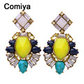 Comiya pendientes indian jewelry fashion gold color zinc alloy muti color imitation stone lady dangle earrings wholesale earring