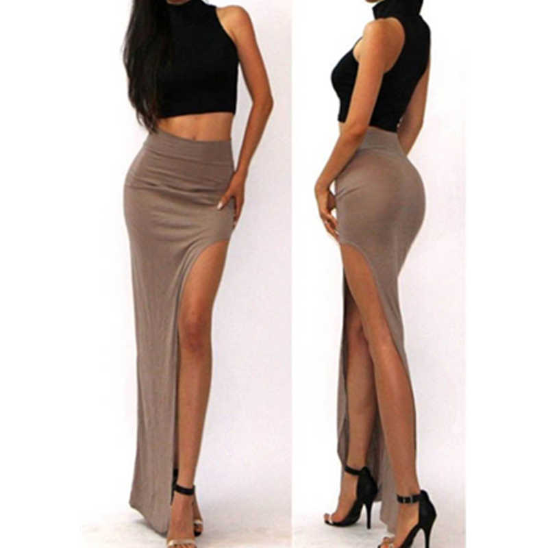 0d3c23650a3 Women Hot Sexy High Waist Side Open Leg Slit Split Long Maxi Skirt Brown  Asymmetrical Skirt