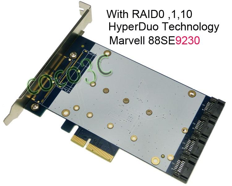 все цены на Quad SATA 3.0 Port PCI-e RAID Card HyperDuo 4 Ports SATA 6Gbps 3.0 SSD + HDD PCI Express card Built RAID0 RAID1 RAID10 онлайн