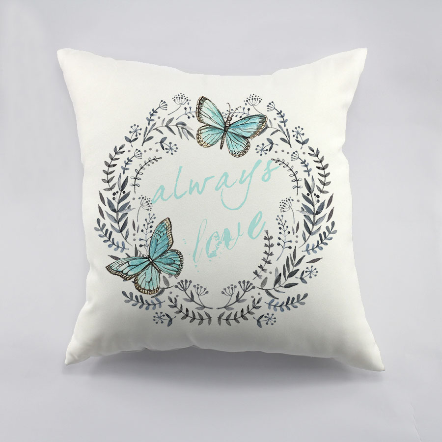 Flower Design For Pillow Cover: Garlands Of Summer Flower With Butterfly Printed Cotton Cushion    ,