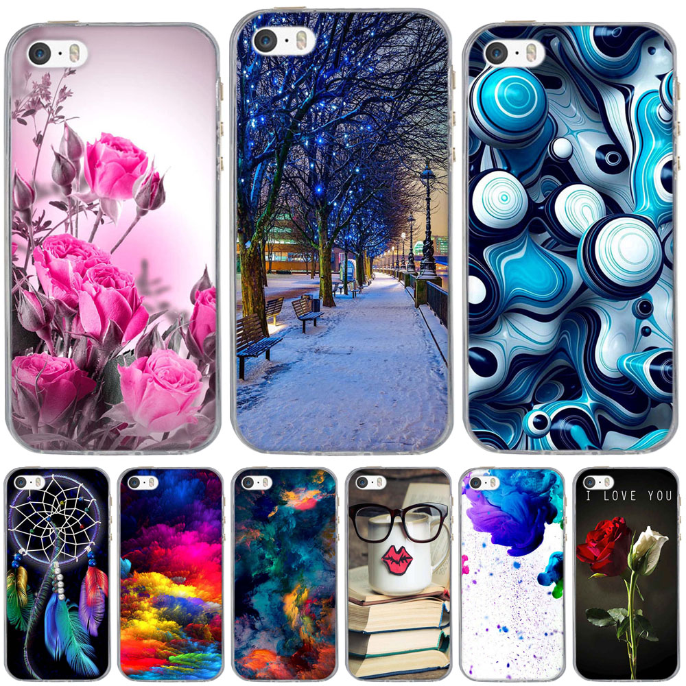 For iPhone 5 S Case 3D Pattern Cute Capa For iPhone 5S Case Silicone TPU Cover For iPhone SE Case For iPhone 5 5S SE Phone Cases
