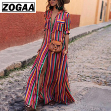 Summer Women V Neck Long Shirt Dress Elegant Striped Button Half Sleeve Maxi Dresses Casual Vintage Casual Dress ZOGAA half sleeve color block striped maxi dress