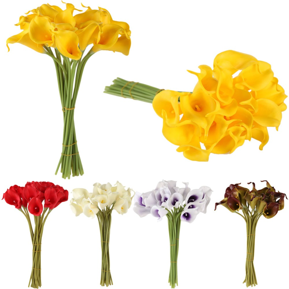 10 or 20 latex decorative flowers calla lily artificial flower pu 10pcslot artificial flowers calla latex decorative flowers for bridal bouquet diy wedding decoration real junglespirit Images