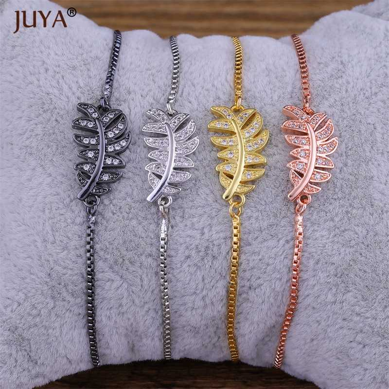 pulceras para mujer 2018 Summer New Design Copper CZ Rhinestone Leaf Charms Bracelet For Women Fashion Jewelry bracciale donna