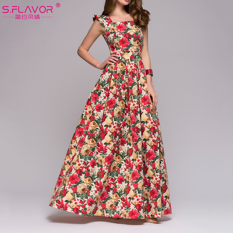 S.FLAVOR Women Printing Party Dress Popular Sleeveless Square Collar Long Vestidos De Festa Women Elegant Maxi Dresses