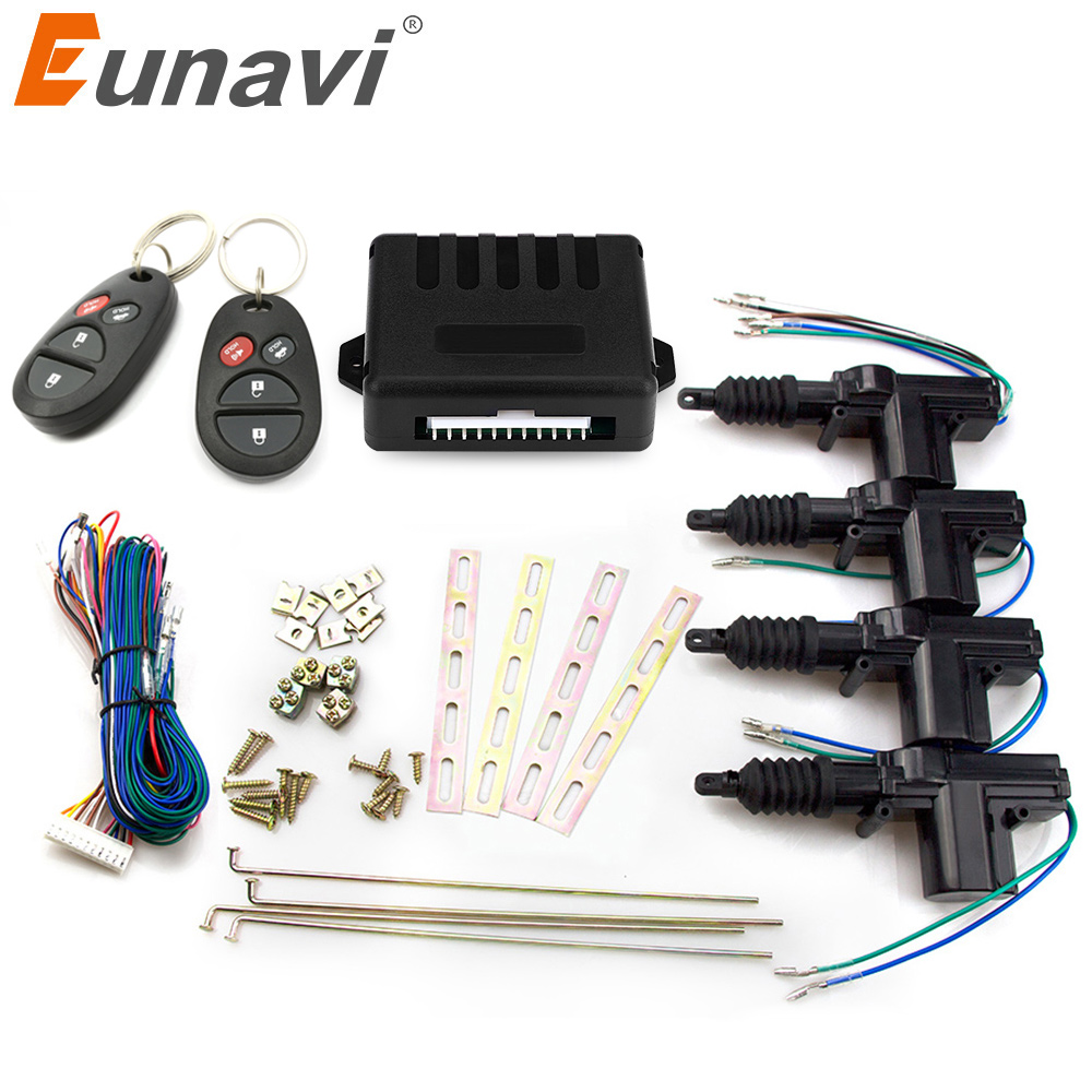 Eunavi Universal Car Power Door Lock Actuator 12V Motor (4 Pack) Car Remote control Central Locking Keyless Entry System door lock motor general purpose actuator kit door lock motor keyless entry concentrated for universal car 12 v power door lock