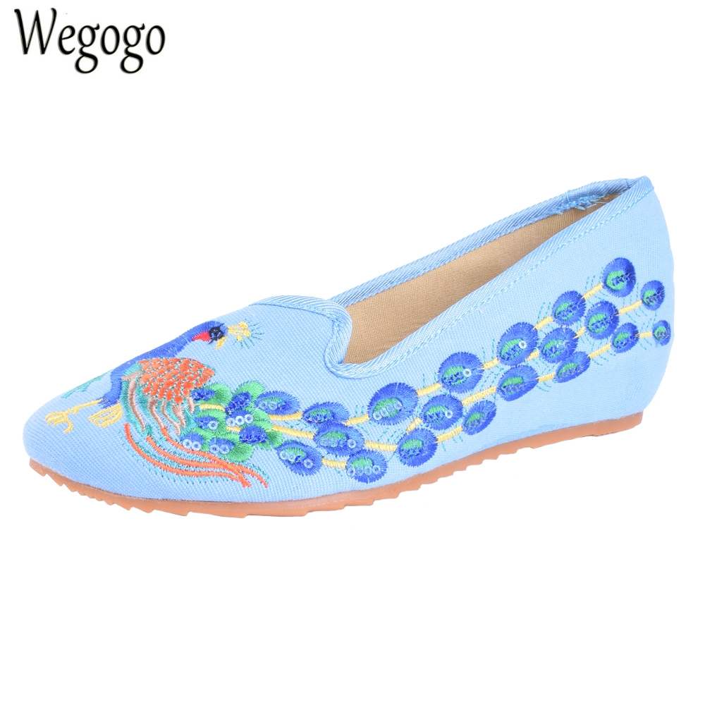 Women Flats National Old Peking Cloth Shoes Embroideried Pointed Toe Mary Janes Dance Soft Ballets Shoes Plus Size 41 peacock embroidery women shoes old peking mary jane flat heel denim flats soft sole women dance casual shoes height increase