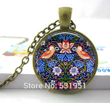 Wholesale Glass Dome Necklace,William Morris The Strawberry Thief Tapestry Detail Vintage-Inspired Handcrafted Keepsake Pendant(China)