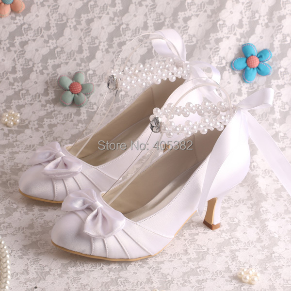 Wedopus MW913 White Satin Bow Low Heel Wedding Shoes Bride Pearl ...