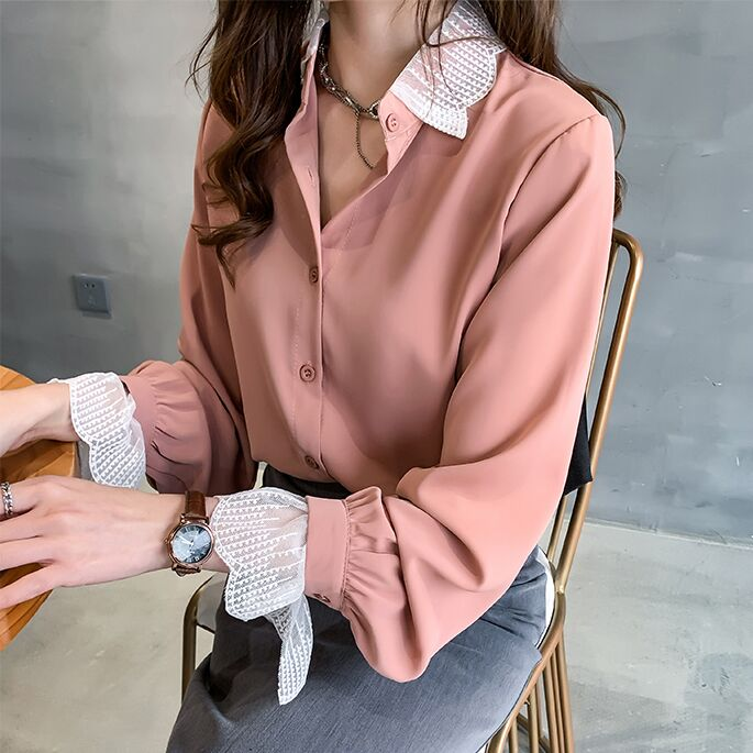 Size M-4XL Women Summer Blouses Patchwork Lace Blouse Long Sleeve Shirt Women Camisas Femininas Female Tops Simple Chiffon Shirt