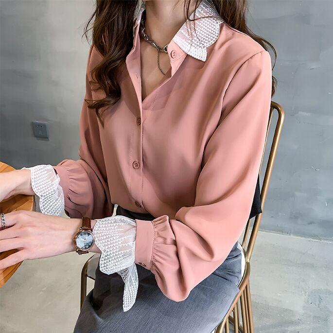 Size M-4XL Women Summer Blouses Patchwork Lace Blouse Long Sleeve Shirt Women Camisas Femininas Female Tops Simple Chiffon Shirt