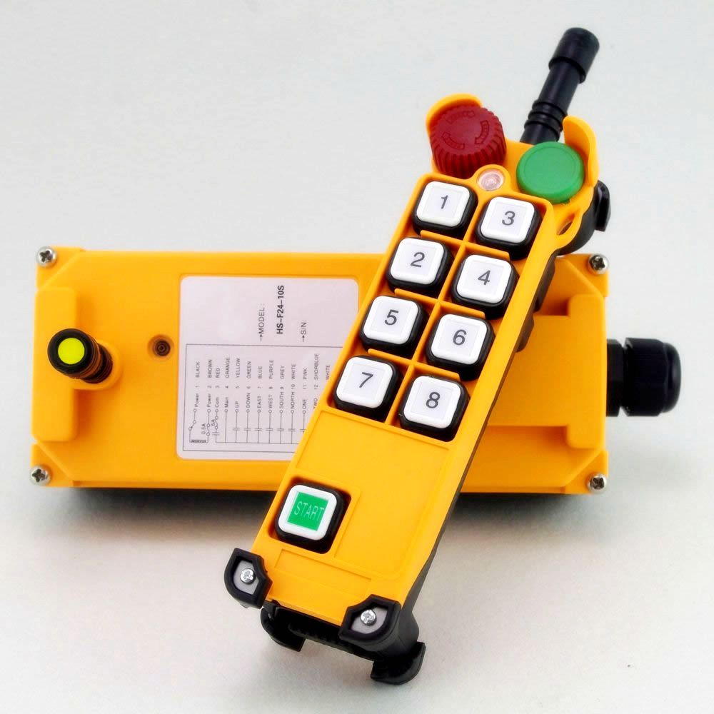 1PCS 4 Motion 1 Speed 2 transmitters Hoist Crane Remote Control System Emergency-Stop 10 channels 1 speed 2 transmitters hoist crane remote control push button switch system emergency stop