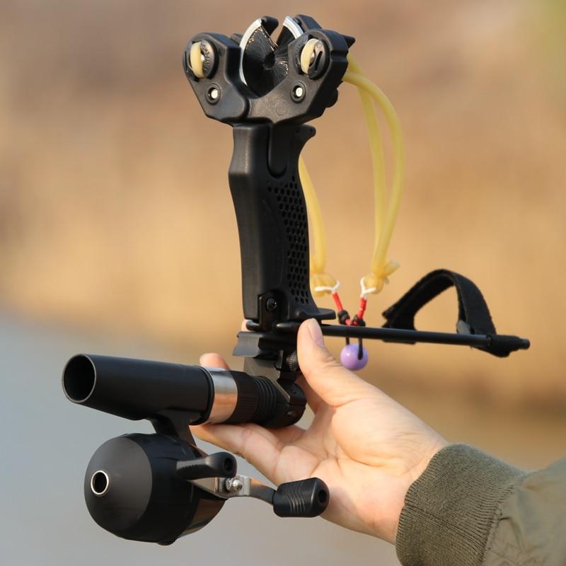 Fishing Slingshot Fishing Reel Stainless Steel Bowfishing Catapult Kit Broadheads Darts Protection Wristband Handguard