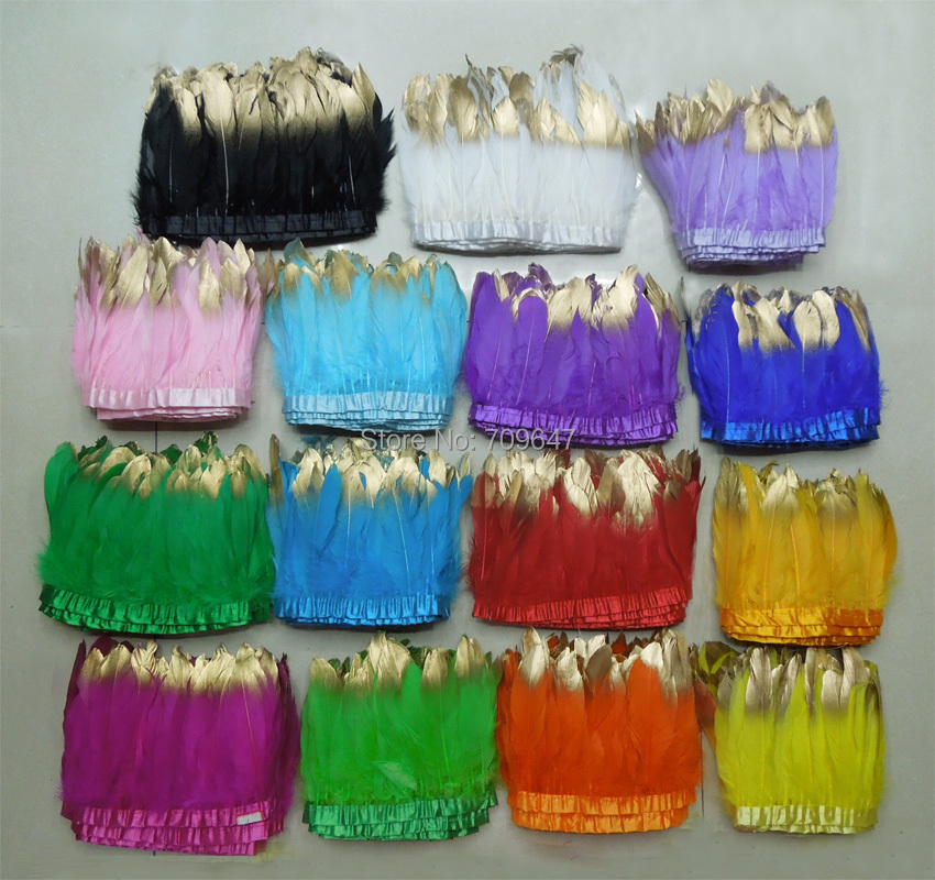 2Yards/lot!Gold Dipped goose feather trim,multicolor goose feather fringe with gold dipped,15colours for choice