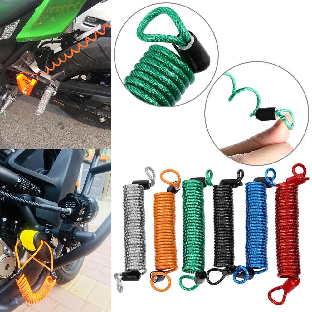バイクオートバイ PVC カラフルな警報ディスクロックセキュリティスプリングリマインダーケーブルケーブルスクーター泥棒保護オートバイアクセサリー
