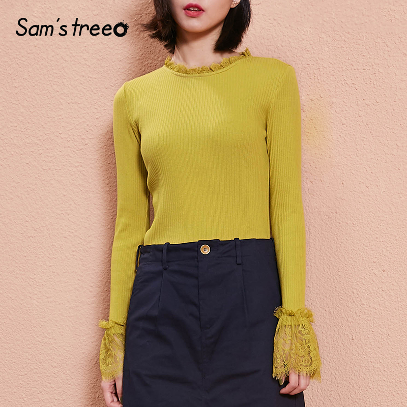 SAMS TREE Wome Tops Slim Bottoming Shirt Spring Lace Stitching Solid Colo Long Flare Sleeve Stretch Cotton T-shirt Female