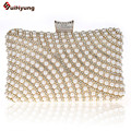 New Fashion Women's Elegant Pearl Handbag Luxury Diamond Handmade Beaded Stripes Party Evening Bag Female Wedding Day Clutches