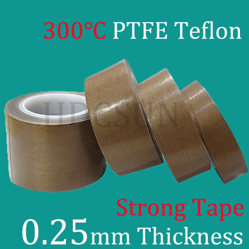 1 Roll 0.25mm thickness PTFE Teflon Adhesive Tape Cloth Hi-Temp Insulate Teflon Adhesive Tape Insulating 10 meter long