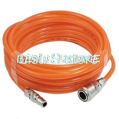 10M Pneumatic Polyurethane Tube Orange PU Hose Pipe 8mm x 5mm w Quick Connector 5pcs hvff 08 pneumatic valve control hvff 8mm tube pipe hose quick connector hand valves plastic pneumatic hose air fitting