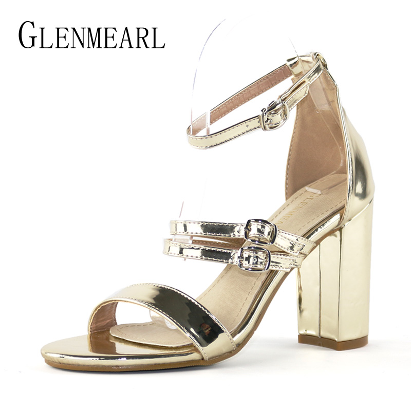 Sexy Women High Heels Shoes Sandals Summer Thick Heel Ankle Strap Shoes Woman Brand Gold Open Toe Hollow Party Shoes Female DE 2017 new arrival abnormal jeweled heels rhinestone crystal embellished high heel sandals ankle strap lock summer party shoes