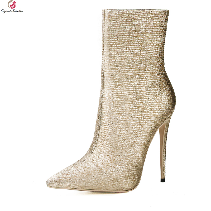 Original Intention New Elegant Women Boots Pointed Toe Thin High Heels Boots Nice Light Gold Shoes