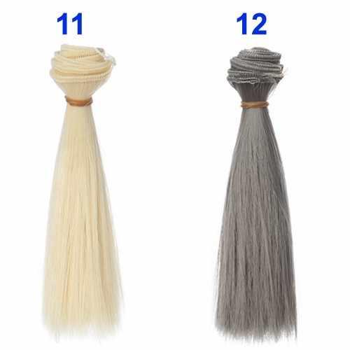 Tek parça 5 cm 15 cm 25 cm siyah altın kahverengi haki beyaz gri renk kısa düz bebek saç 1/3 1/4 1/6 BJD diy malzeme