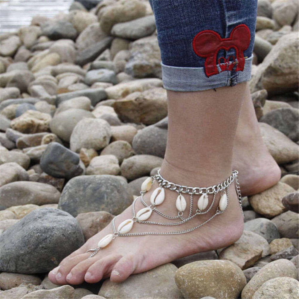 Multilayer Foot Jewelry Slave Anklets for Women Sandalia Feminina Pulseira Beach Barefoot Sandals Shell Toe Rings