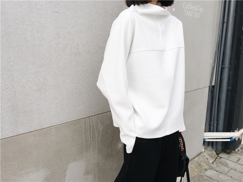 [GUTU] 2018 Autumn And spring New Korean Tide Solid Color High Collar Long Sleeve Pullover Casual Sweatshirt Woman EA32700 22