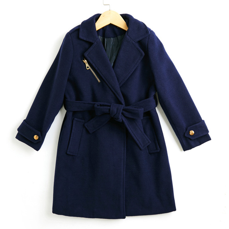 4 to 14 year kids & teenager girls wool blends polyester belted blue red long jacket & coat children fashion outwear clothing waist belted solid long coat