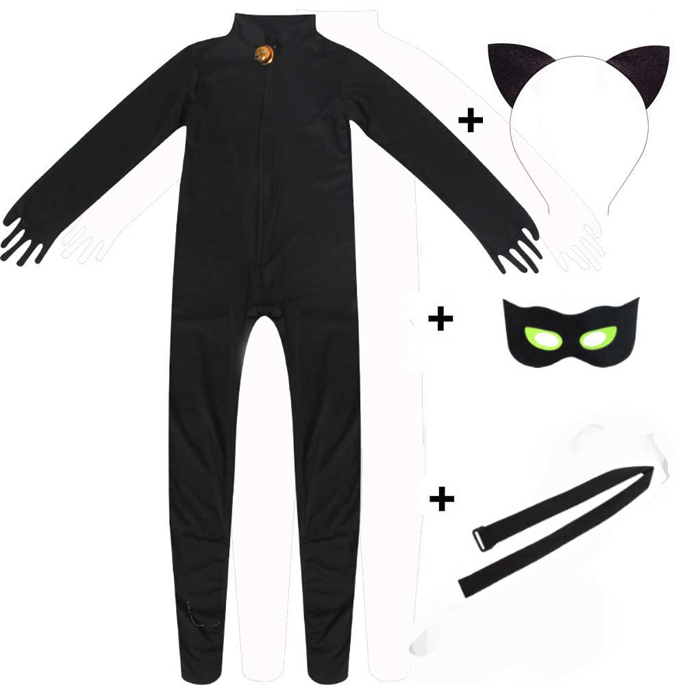 Kids Halloween Costumes Boy's Ladybug Costume Black Cat Noir Jumpsuit Eye Mask Tail Belt Set Adrien Ladybug Cosplay
