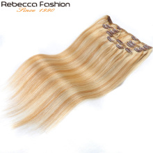 Rebecca Hair Clip 7Pcs In Human Hair Extensions Peruvian 100% Human Straight Hair Blonde #P27/613 Full Head 7Pcs/Set Remy Hair