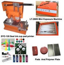ink cup pad printer with ps polymer plate uv exposure unit