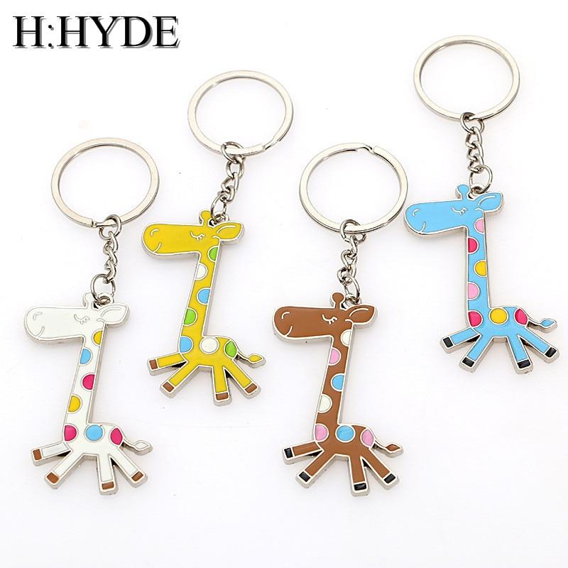 H:HYDE New Fashion Cute Animal Giraffe Key Chains  Creative Punk Giraffes Key Ring Elephant 5 Colors  HandBag Pendant Keychain
