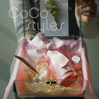 Cocostyles custom design blank modern big size acrylic gift box with gold engraving logo for wedding gift box
