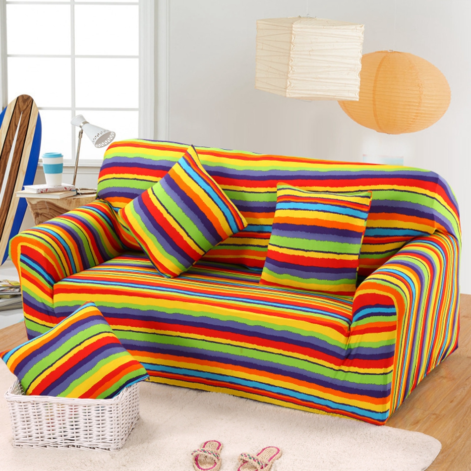 Color Striped Design Universal Sofa Cover Elastic Single Double Three Four  Seat L Shaped Sofa Cover