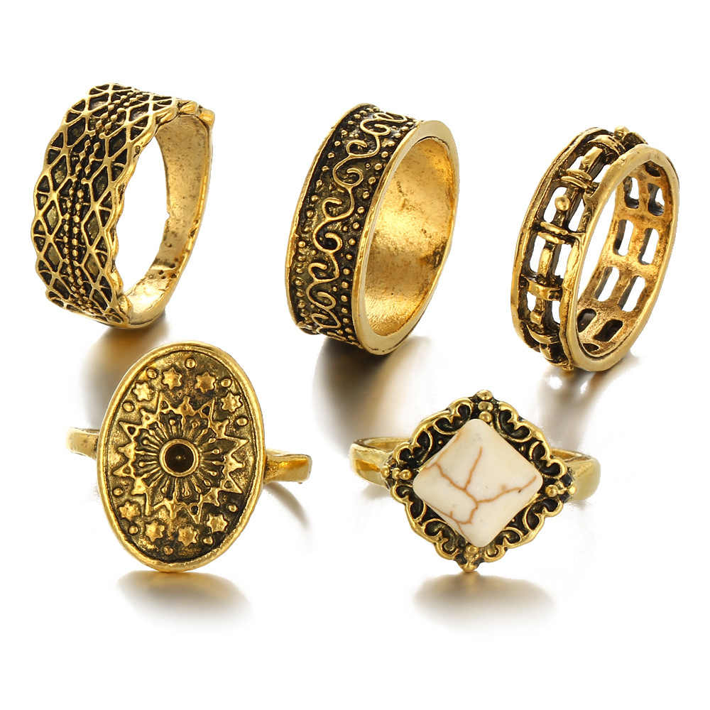 5 Pieces 1 Set White Natural Stone Knuckle Rings Set Antique Gold Color Square Hollow Flower Midi Finger Ring Women Men Jewelry