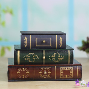 Image 5 - Joyero Vintage de tres capas superpuesta tipo libro, artesanías de madera, caja de acabado de escritorio, caja de almacenamiento de cosméticos, decoración del hogar