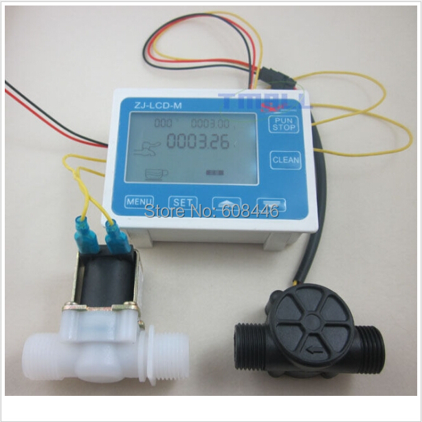 G1/2 Water Flow Control LCD Display+Flow Sensor Meter+Solenoid Valve Gauge New