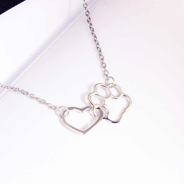 Модные материал ожерелья подошва собаки цепь с подвеской в виде сердца полые ключицы ювелирные изделия, ожерелье стимпанк