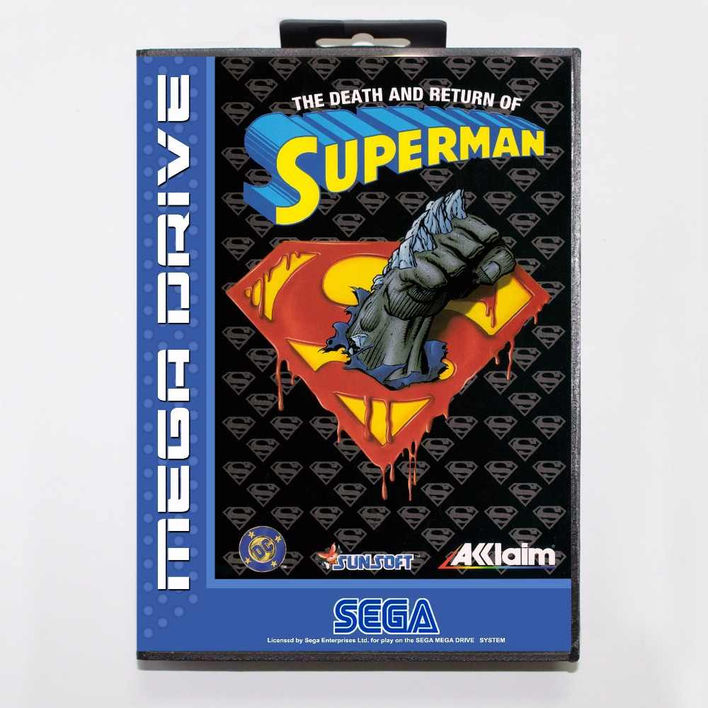 Death and Return of Superman Game Cartridge 16 bit MD Game Card With Retail Box For Sega Mega Drive For Genesis