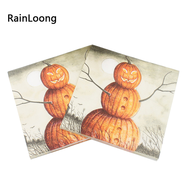 [RainLoong] Pumpkin Paper Napkins Halloween Festive & Party Supplies  Tissue Napkins Decoration Servilleta 33cm*33cm 20pcs/pack