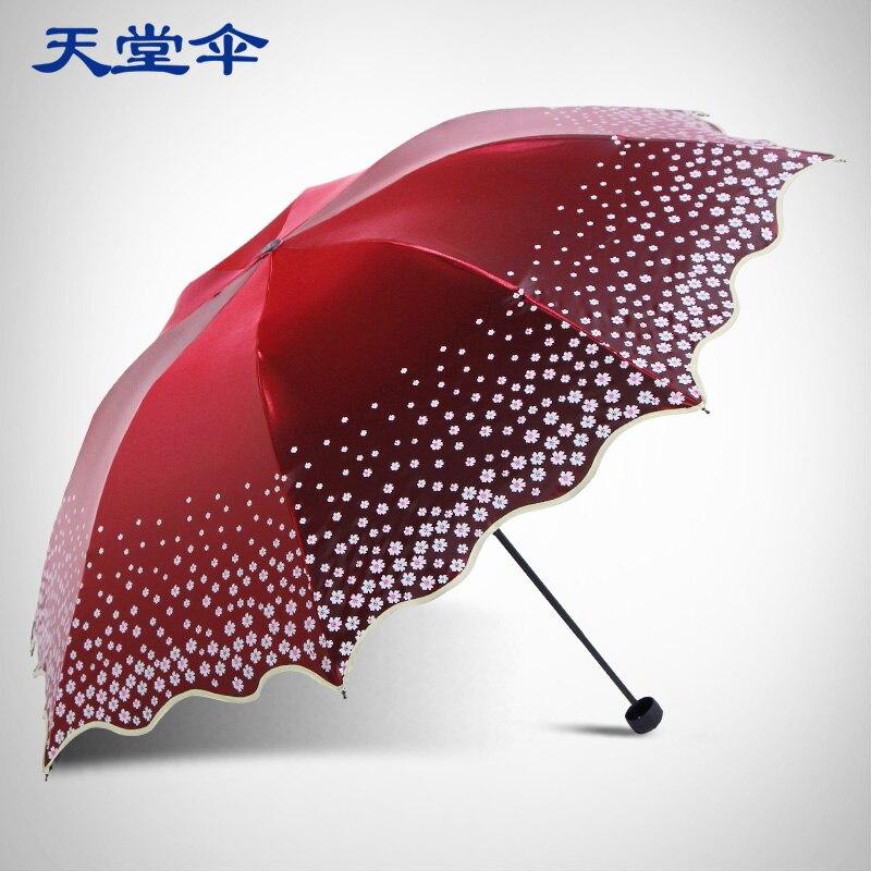 Parapluie ciel pour renforcer l'anti rayon ultraviolet soleil parapluie couverture soleil parapluie couleur flash noir plastique pliant parapluie